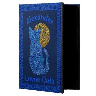 Blue Cat And The Moon Cat Lover Feline Kitten