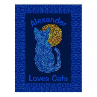 Blue Cat And The Moon Cat Lover Feline Kitten Postcard