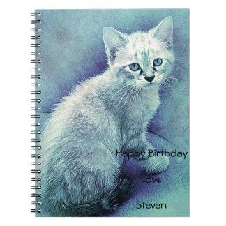 Blue Cat Cute Unique Notebook