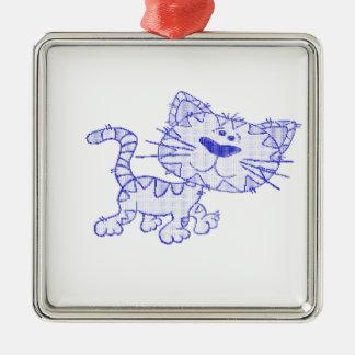 Blue cat christmas tree ornaments