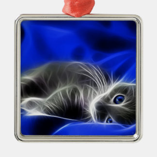 blue cat square metal christmas ornament