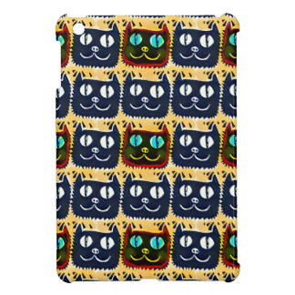 blue cat head tiled pattern illustration case for the iPad mini