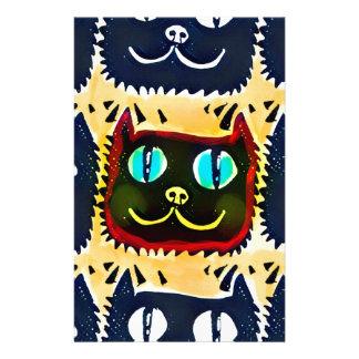 blue cat head tiled pattern illustration stationery
