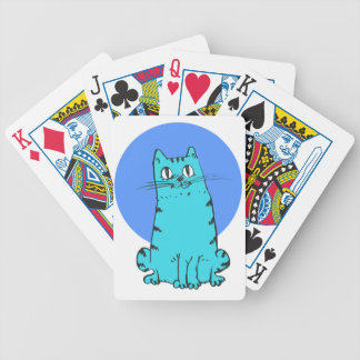 blue cat sweet cartoon kitty bicycle playing cards