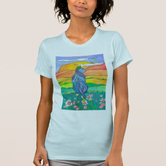Blue Cat Watercolor Flowers T-Shirt