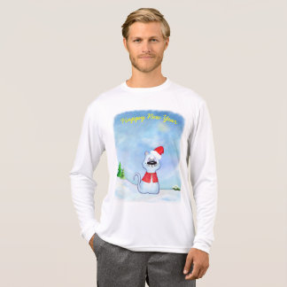 Blue cat watercolor, winter, Happy New Year T-Shirt