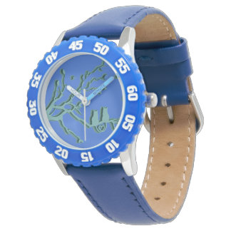 Blue cat WRISTWATCH.  cute blue cat. Watch