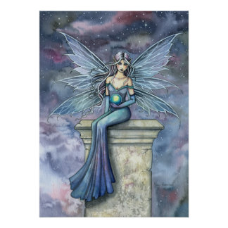 Blue Celeste Fantasy Fairy Art Poster Print