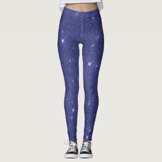 Blue Celestial Starry Night Leggings