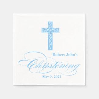 Blue Celtic Cross Christening Personalized Napkin Disposable Napkins