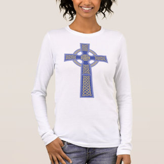 Blue Celtic Cross Ladie's Fitted Long Sleeve Shirt