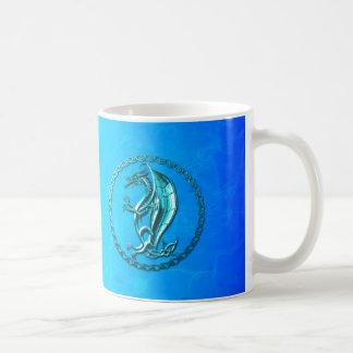 Blue Celtic Dragon Basic White Mug