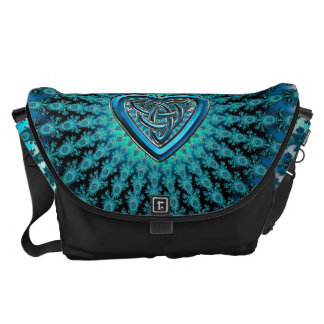 Blue Celtic Heart Knot Fractal Commuter Bags