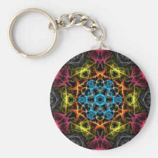Blue Centre Basic Round Button Key Ring
