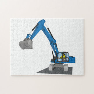 blue chain excavator jigsaw puzzle