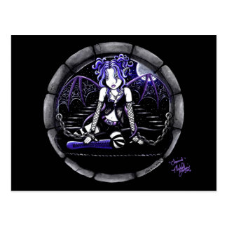 """""""Blue Chained"""" Gothic Fairy Art Postcard"""