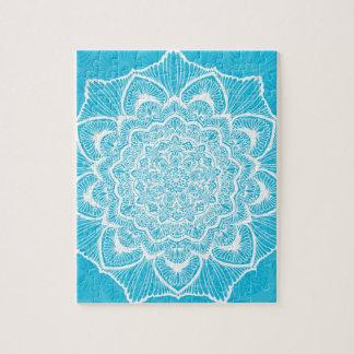 Blue Chakra Blossom, boho, new age, spiritual Jigsaw Puzzle