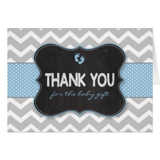 Blue Chalkboard boy baby shower thank you notes Note Card