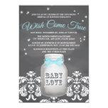 Blue Chalkboard Firefly Mason Jar Baby Shower 13 Cm X 18 Cm Invitation Card