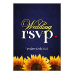 Blue Chalkboard Sunflower Wedding RSVP Cards Personalised Announcement