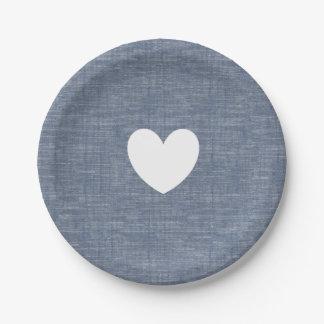 Blue chambray denim heart custom paper plate