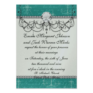 blue chandelier and vintage writing 11 cm x 16 cm invitation card