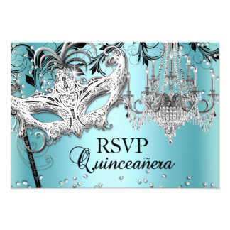 Blue Chandelier Masquerade Quinceanera RSVP Announcement