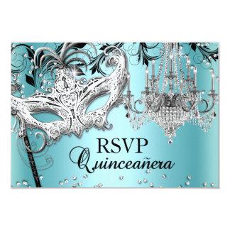 Blue Chandelier Masquerade Quinceanera RSVP 9 Cm X 13 Cm Invitation Card