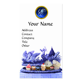 BLUE CHARIOT OF SWANS WITH CUPCAKES AND PASTRY BUSINESS CARD TEMPLATES