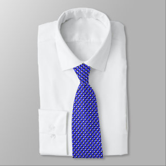 Blue Check Pattern White Checked Formal Tie
