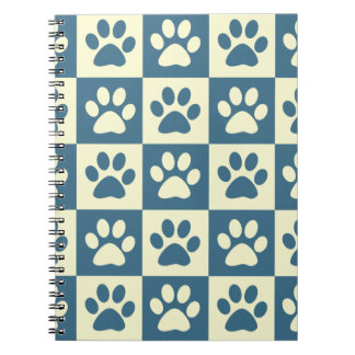 Blue Checker Paw Pattern Notebook