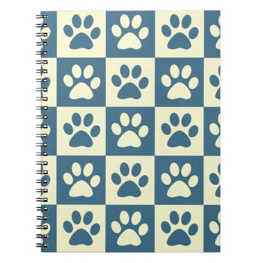 Blue Checker Paw Pattern Notebook
