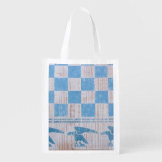 Blue checkerboard eagles reusable grocery bag