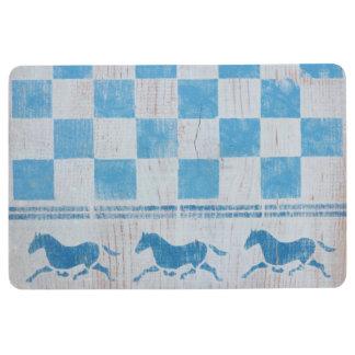 Blue checkerboard horses floor mat