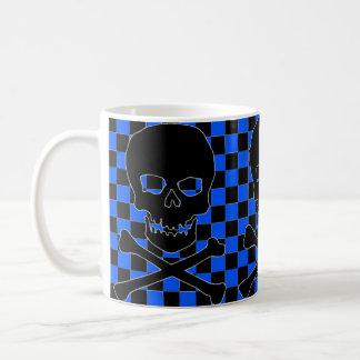 blue checkered black clip art skull coffee mug