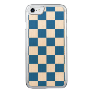 Blue Checkered Carved iPhone 7 Case