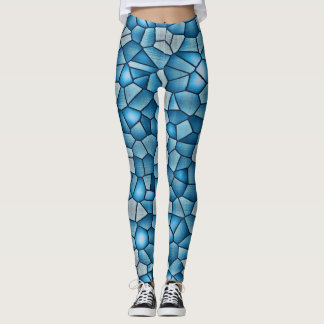 Blue Checkered Design Leggings
