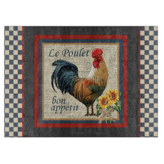 Blue Checkered French Country Rooster Cutting Board
