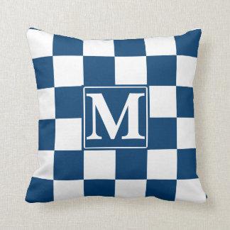 Blue Checkered Monogram Throw Pillow