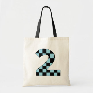 Blue Checkered Number Two Budget Tote Bag