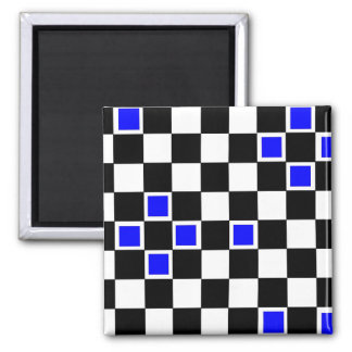 Blue Checkers Square Magnet