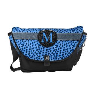 Blue Cheetah Monogram Animal Print Courier Bag