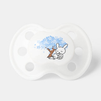 Blue Cherry Blossom Bunny Baby Pacifier