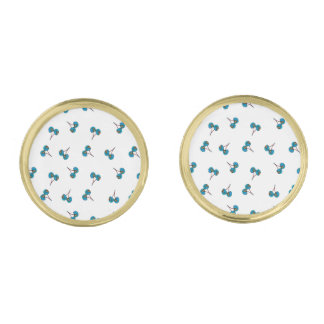 Blue Cherry Pattern Gold Finish Cuff Links