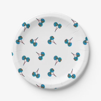 Blue Cherry Pattern Paper Plate