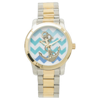 blue chevron and anchor bracelet watch