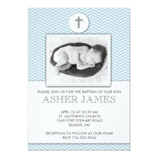 Blue Chevron Baby Baptism Christening Invitation