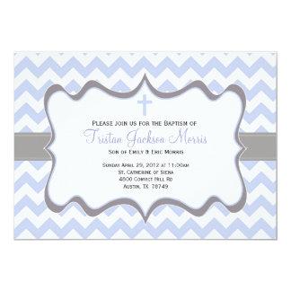 Blue Chevron Baptism Invitation