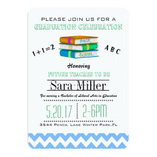 Blue Chevron /Books Teacher Graduation Invitation