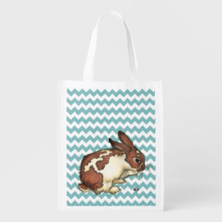 Blue Chevron Bunny Reusable Grocery Bag